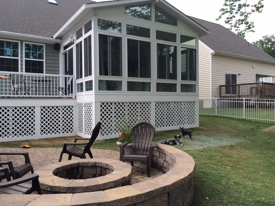 Screen porches enclosures cornelius nc johnson for Porch sunroom